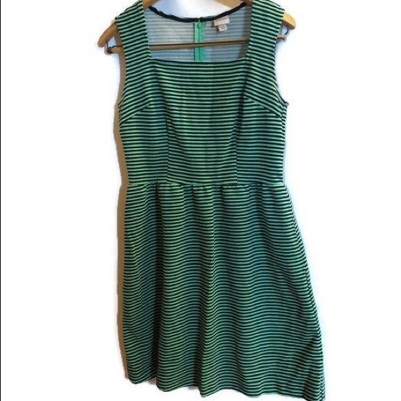 0e19d67cb8db Merona Dresses | Fit And Flare Sleeveless Dress Greennavy | Poshmark